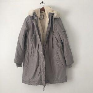 GAP Warm Winter Puff Coat, Soft Faux Fur Lining, M